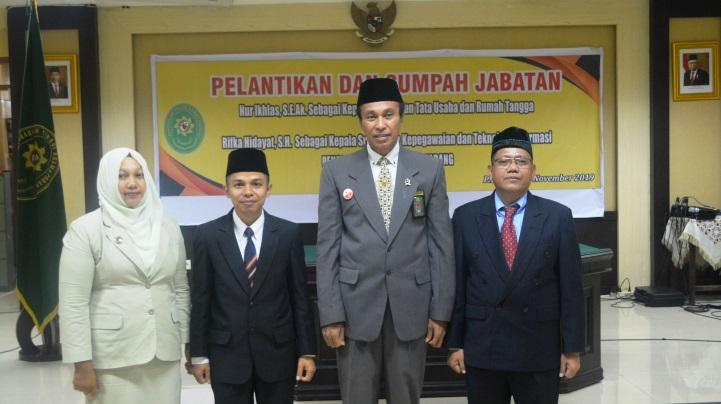 Pelantikan dan Pengambilan Sumpah Kasubbag TU & RT dan Kepegawaian & TI PTA Padang